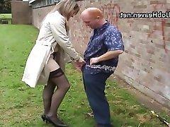 Amateur British Handjob Outdoor