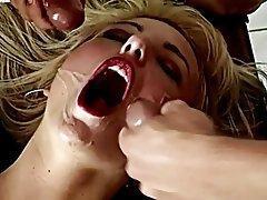 Blonde Cum in mouth Cumshot Facial Threesome