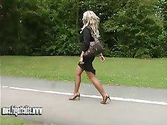 Blonde Foot Fetish High Heels MILF Pantyhose