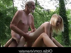 Old and Young Outdoor Teen Threesome