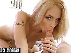 Amateur Blonde Blowjob Cumshot Handjob