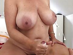 Cumshot Mature Handjob MILF Big Nipples
